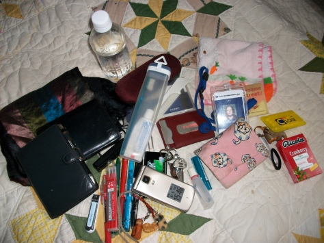 phone, camera, ti8ssues, appointment book, wallet, toothbrush, toothpaste, assorted pens (refills for red), nail clipper, scarf, granny glasses, water bottle, bankbook, comb name stamp, mints, keys, train pass, company ID, hand towel, eye drops, chapstick, data stick, ponytail holder, business cards and throat lozenges.